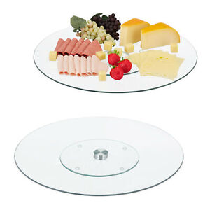 2-x-Servierplatte-Tortenplatte-Kuchenplatte-Glas-Drehteller-Kaeseplatte-drehbar