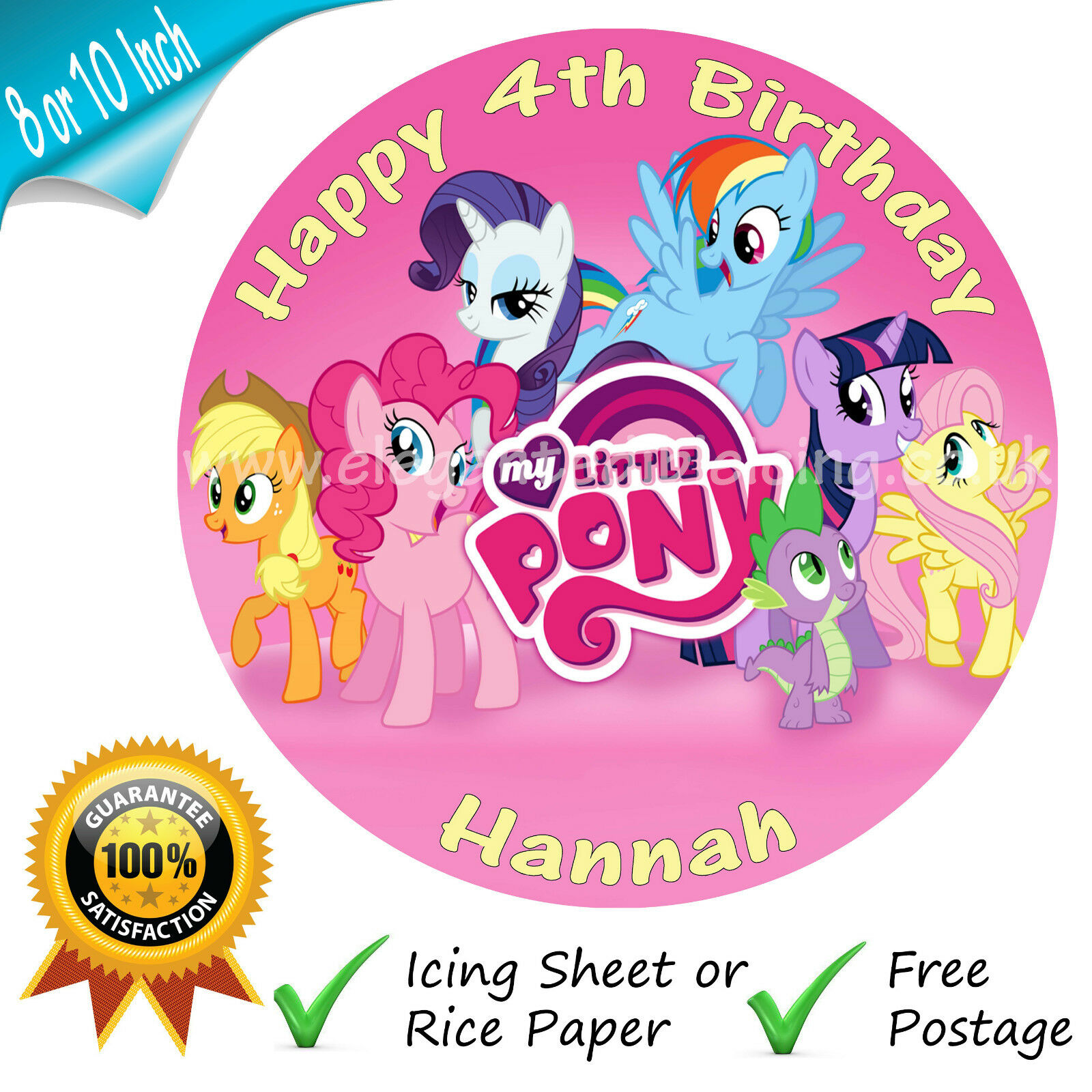 My Little Pony Round Edible Printed Birthday Cake Topper