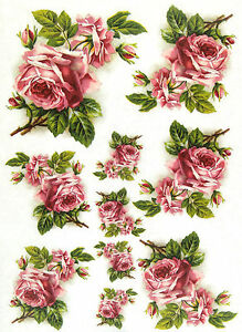 Rice Paper for Decoupage Sheet Craft Vintage Pink Roses Scrapbooking