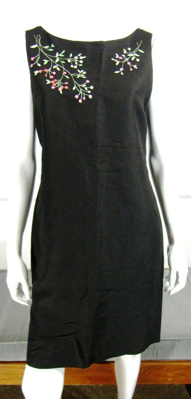 CASUAL CORNER Boat Neck Sleeveless Dress SZ 10 BLACK Floral Embroidered 008