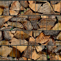 Kaminholz • Sichtschutz Doppelstabmatten Zaun Windschutz Holzmotiv