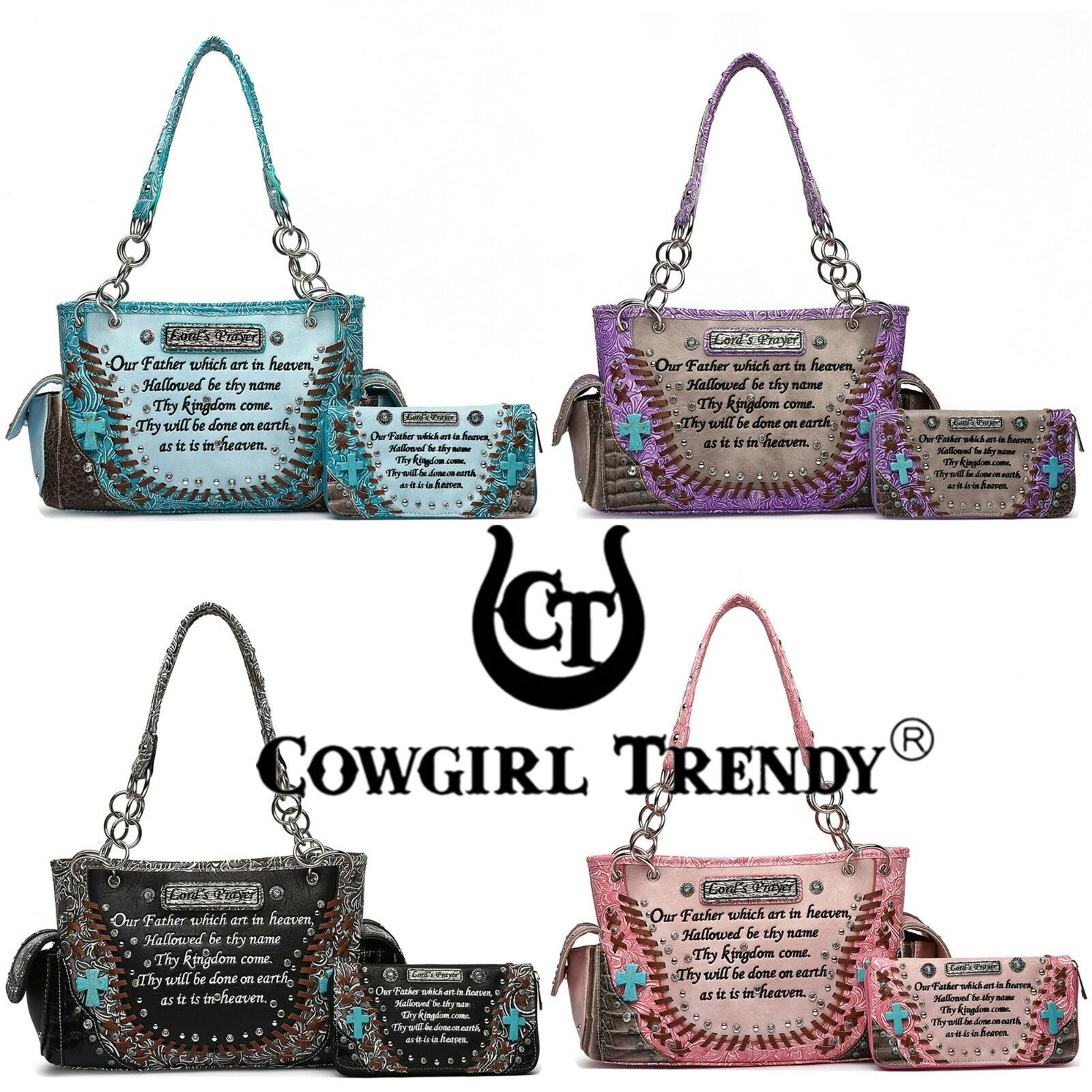 Western Purse Conceal Carry Cross Bible Scripture Verse Women Handbag Wallet