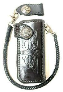 Biker-Chain-Wallet-motorcycle-trucker-wild-west-longhorn-skull-tooled-Leather