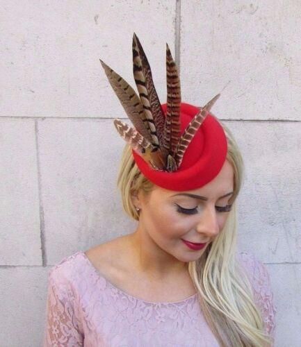 Rouge Marron Faisan Feather Pilulier Chapeau Cheveux Fascinator races clip vintage 4171