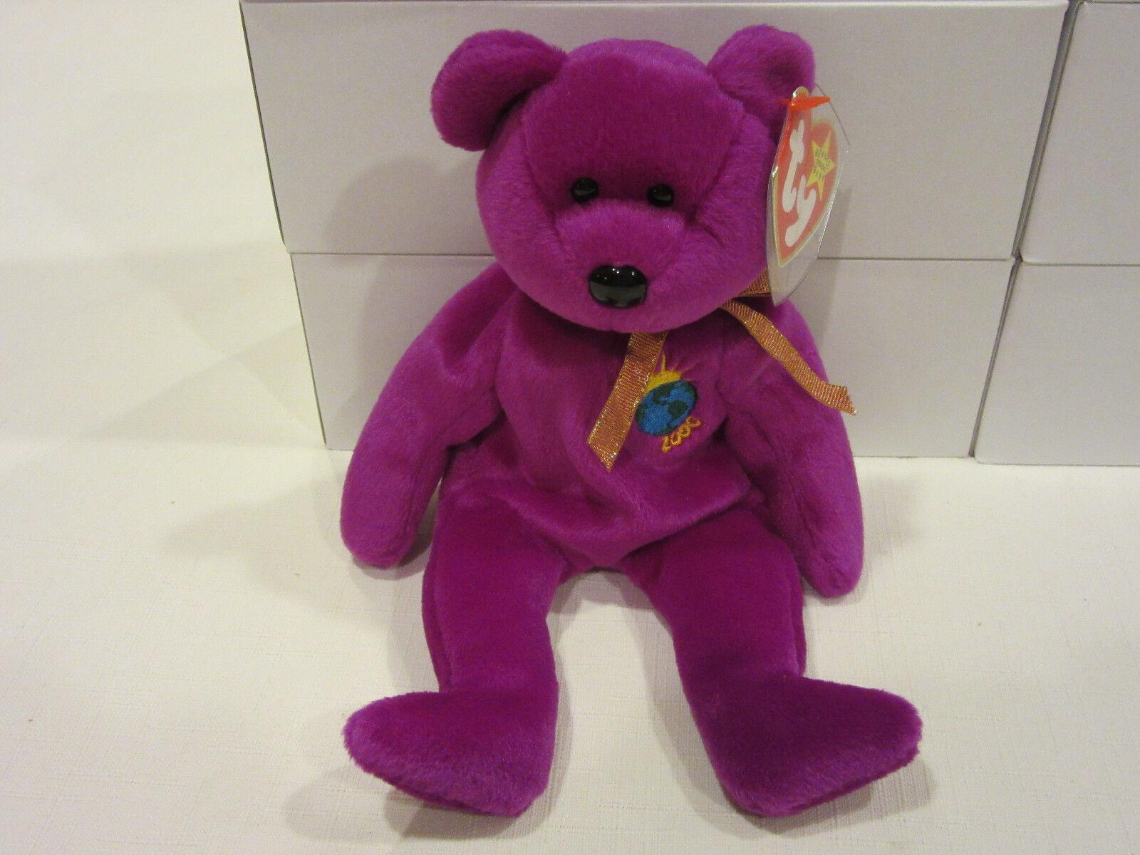 2000 Millennium TY Bear Magenta Limited Edition Beanie Baby