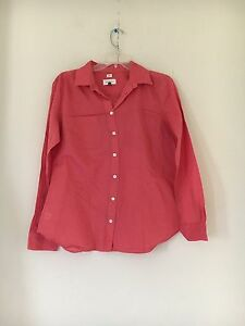 Ann-Taylor-Loft-Size-M-Coral-The-Softened-Shirt-100-Cotton-Top-Blouse-Women