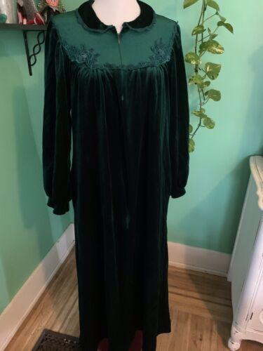 Vintage Green Velvet Womens S House Coat Robe Koma