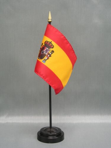 "SPAIN 4X6/"" TABLE TOP FLAG W// BASE NEW DESK TOP HANDHELD STICK FLAG"