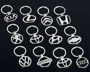 Car-Logos-3D-Chrome-Titanium-Metal-Alloy-Keyfob-Keyring-Keychain-Key-Chain-Ring