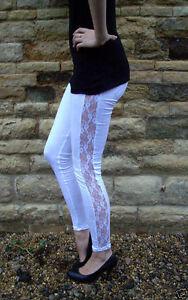 EXTRA LONG Leggings Lace Insert Viscose Stretch Leggings BLACK 8 10 12 14 16 S M