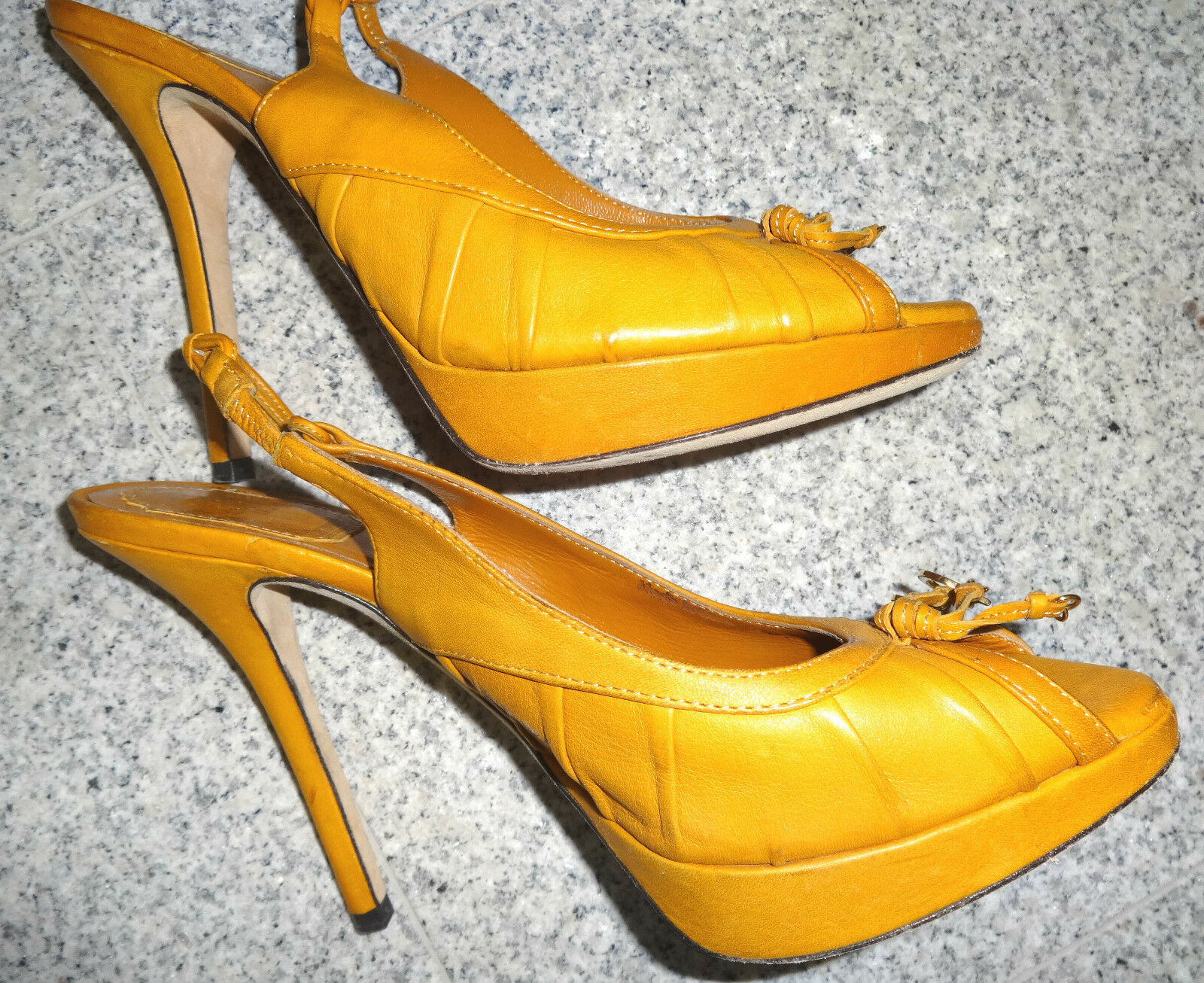 CHRISTIAN DIOR Peep Toe Plateau Sling Pumps 12,3 cm Absatz Orange 38,5