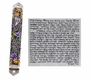 Metal-Mezuzah-With-NON-Kosher-Scroll-Mezuza-Case-Jewish-Hebrew-Judaica