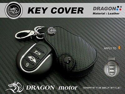 MN047 Leather Key fob Holder Case Chain Cover FIT For New MINI with 5 doors F56