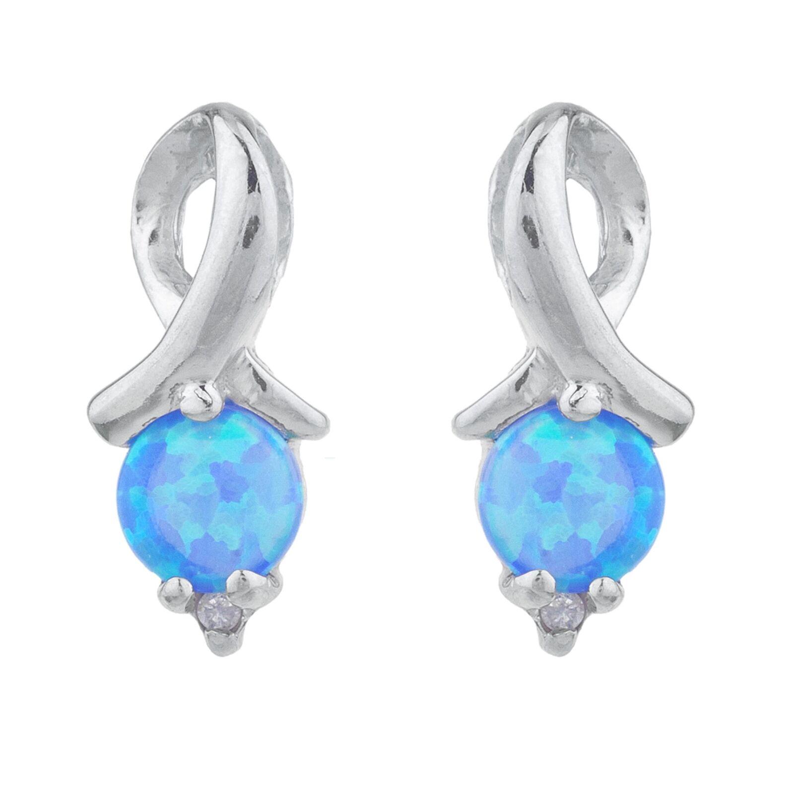 bluee Opal & Diamond Round Design Stud Earrings 14Kt White gold