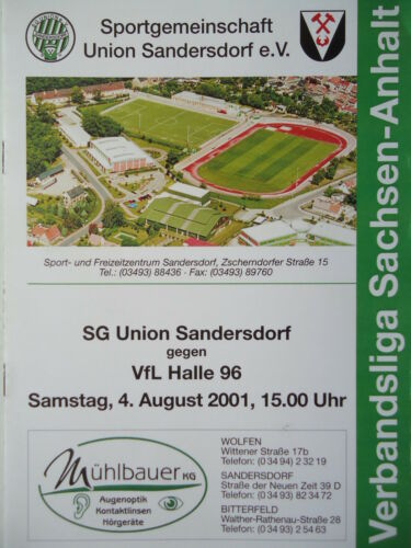 Programm 2001/02 SG Union Sandersdorf Sammeln & Seltenes VfL Halle 96