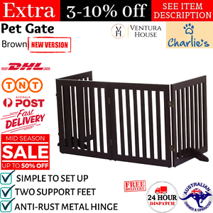Pet Gate Step Over Dog Gate Freestanding Assembly-Free Puppy Foldable Fence New