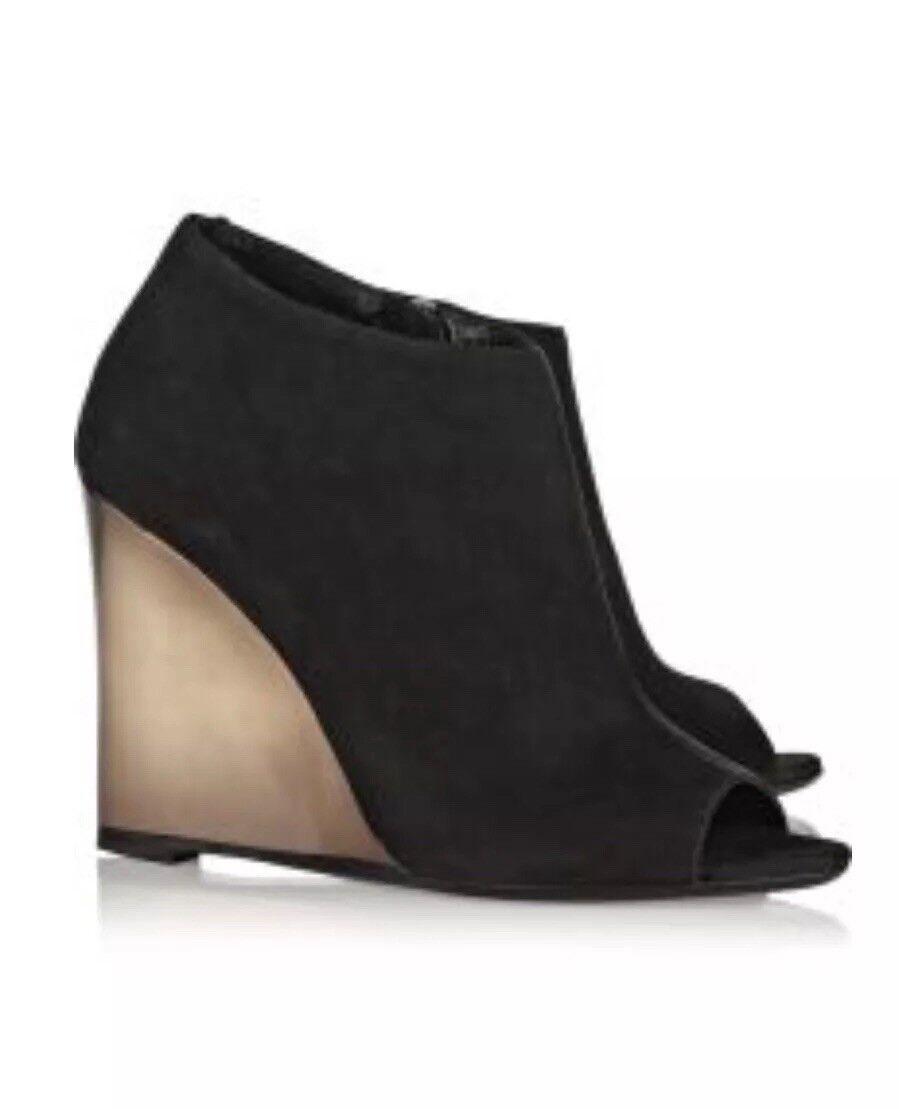 New Burberry Women's suede peep-toe wedges UK 5.5 EUR 38.5