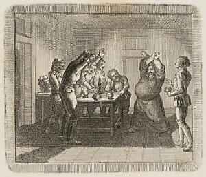Chodowiecki (1726-1801). il monaco gramsalbus zecht con alcuni cavalieri