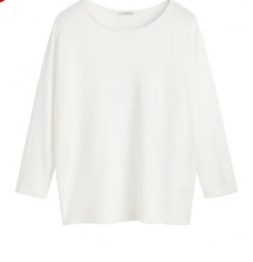 Sandwich Clothing 3 4 Sleeve T-Shirt 21101471 in Lily White Size S RRP