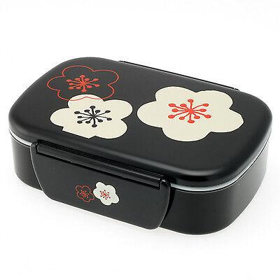 Kotobuki 2-Tiered Bento Box, Black with Flower Blossoms and Snap Lid