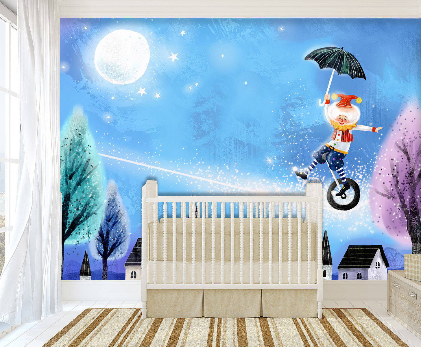 3D Moon Animal Circus 7 Wall Paper Murals Wall Print Wall Wallpaper Mural AU Kya