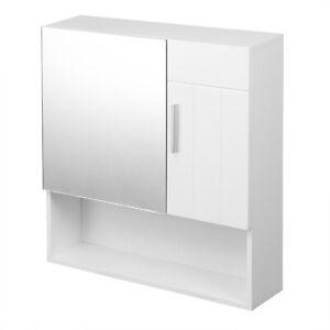 Hängeschrank Spiegelschrank Wandschrank Spiegeltürenschrank aus MDF Weiß BZS49ws