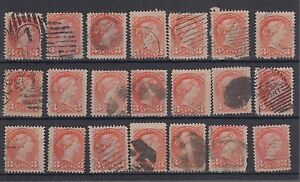 Small-Queen-LOT-21-x-3-cent-various-cancels-shades-printings-Canada-used
