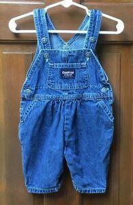 Oshkosh Vintage Baby Girl Denim Bubble Fit Vestbak Overalls 3/6 Months Small