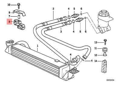Genuine BMW E30 Cabrio Engine Oil Cooler Hose Pipe Outlet OEM 17211707864