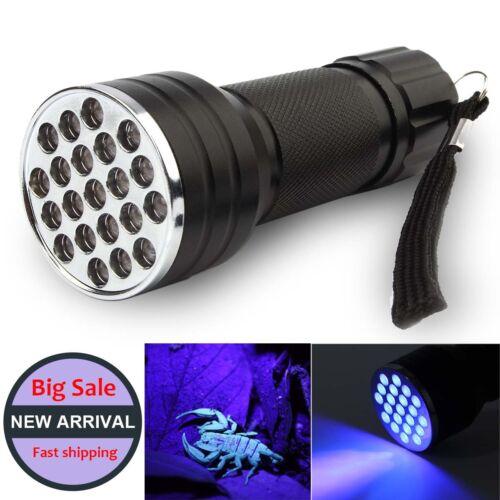 UV Ultra Violet 21 LED Linterna Mini Blacklight Aluminio Antorcha Lámpara de luz
