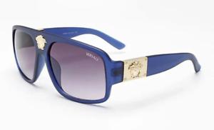 New High Quality Genuine Versace Medusa Luxury Unisex Fashion Blue Sunglasses