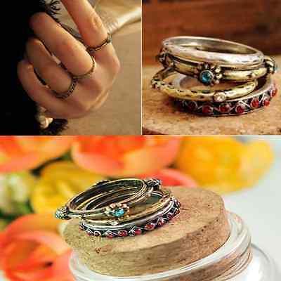 hot Retro Vintage Punk Crystal Rhinestone beaded Finger Rings 4pcs/set hs