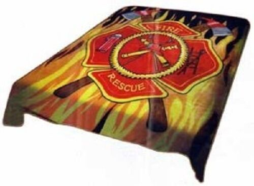Fire Fighter Department Flag Full Queen Mink Throw Blanket (78  x 94 )