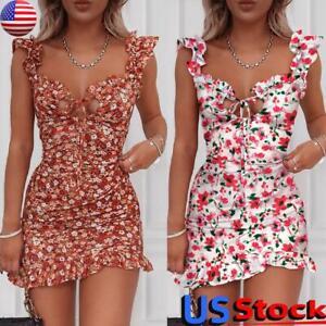 Women-039-s-Boho-Floral-V-Neck-Party-Evening-Beach-Short-Mini-Dress-Summer-Sundress