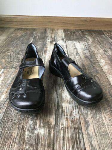 NAOT Black Leather Velcro Close Mary Jane Platform
