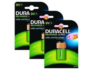 3 X Duracell 9 V pp3 bloc 170 mAh Rechargeable Batteries hr22 6lr61 hr9v dc1604-afficher le titre d`origine 8dZN1NQV-07192909-239781436