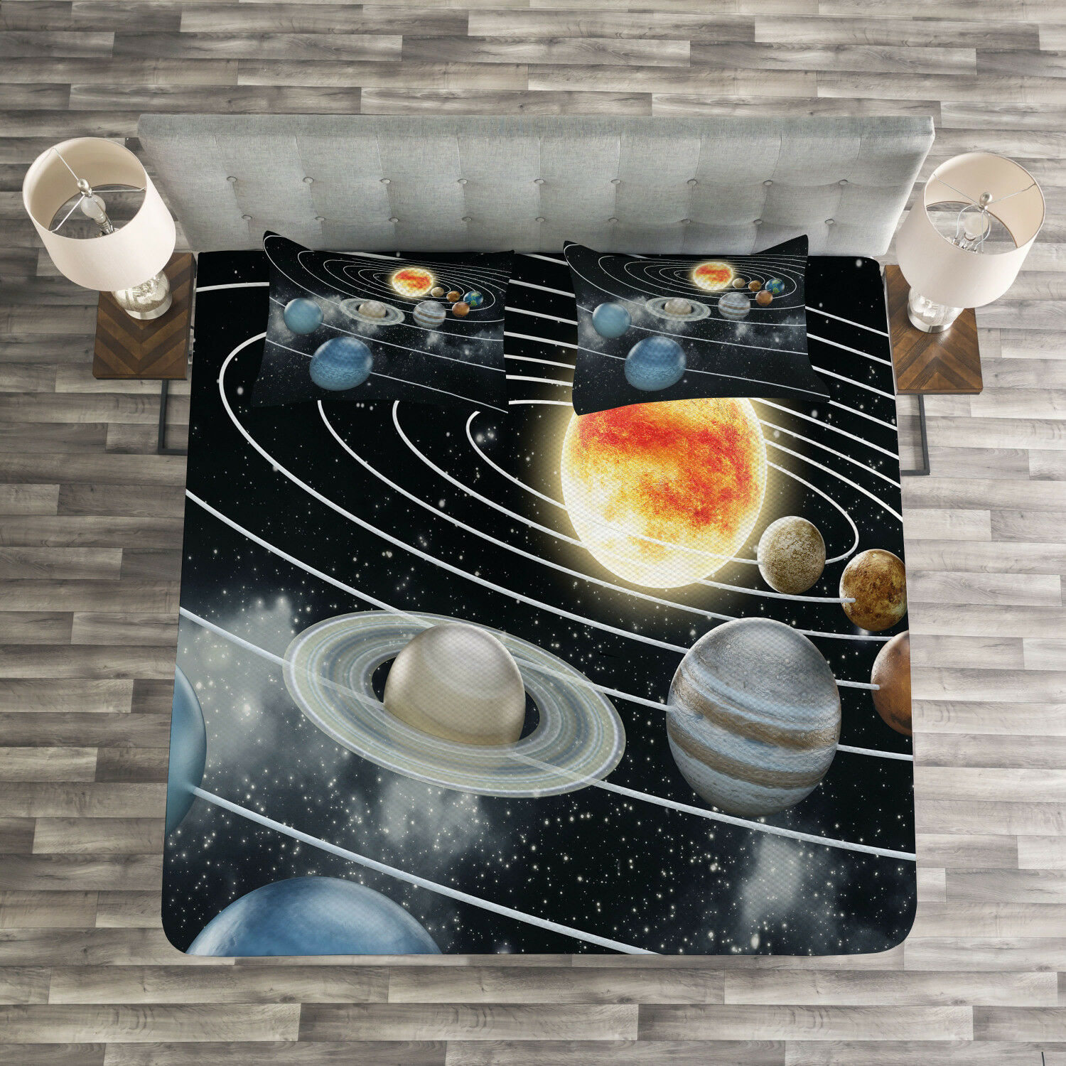 Galaxy Quilted Bedspread & Pillow Shams Set, Solar System Sun Planets Print