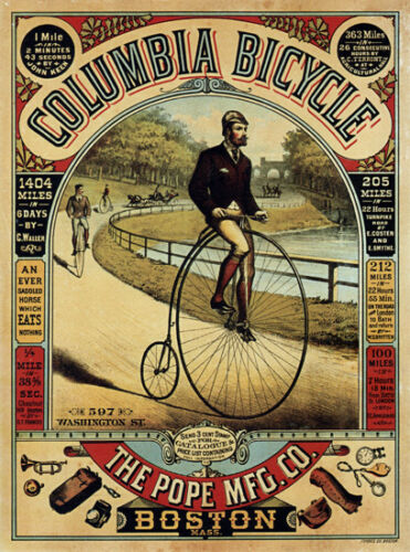 12 Sizes Vintage Columbia Bicycle Advert T-Shirt Penny Farthing Bike Cycling
