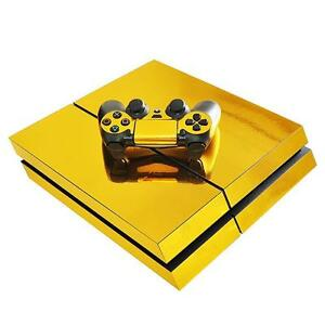 Stylish-Gold-Glossy-PS4-Decal-Skin-Sticker-for-PS4-Console-Controllers-Skin-GW