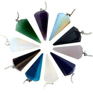 Piedras-Preciosas-Cristal-de-Cuarzo-pendulo-curativo-radiestesia-Reiki-Chakras-Cadena-Colgante
