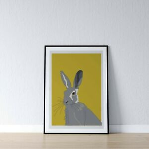 Mustard-Yellow-Hare-Rustic-Wall-Art-Print-Home-Decor-Picture-Poster-A4