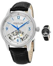 Stuhrling 977 Men's Hand-Wind Skeleton Dress Embossed Genuine Leather  Watch