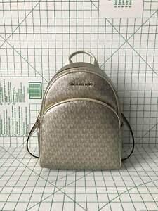 56eb2b67e5f3 Image is loading Michael-Kors-Abbey-Medium-Signature-PVC-Leather-Backpack-