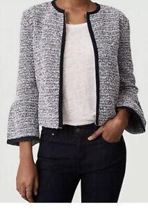 NWT-Ann-Taylor-Loft-Knit-Tweed-Bell-Sleeve-Open-Front-Jacket-Fresh-Navy-SZ-Med