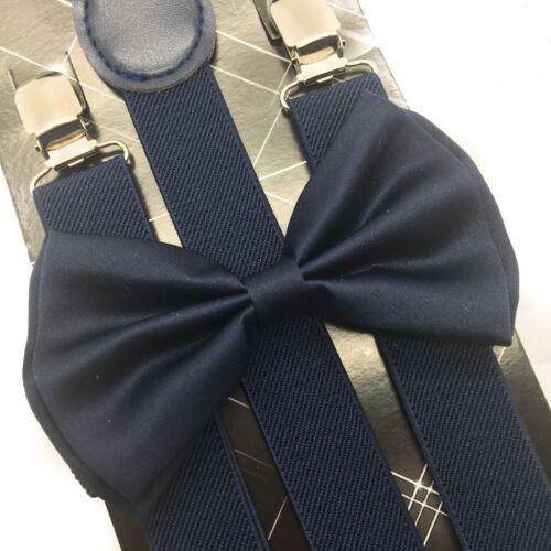 USA Navy Blue Suspender and Bow Tie Set Wedding Formal Tuxedo Adults Men Women