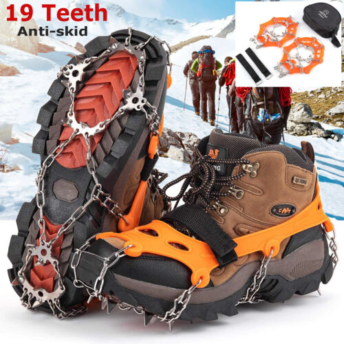 Ice Snow Grips Anti Slip On Over shoe Boot Studs Crampons Cleats Spike Gripper A