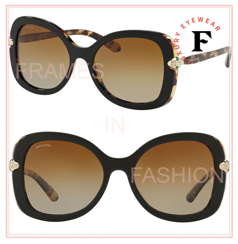 BVLGARI SERPENTI BV8202BF Brown Black Diamante Jewel Polarized Sunglasses 8202