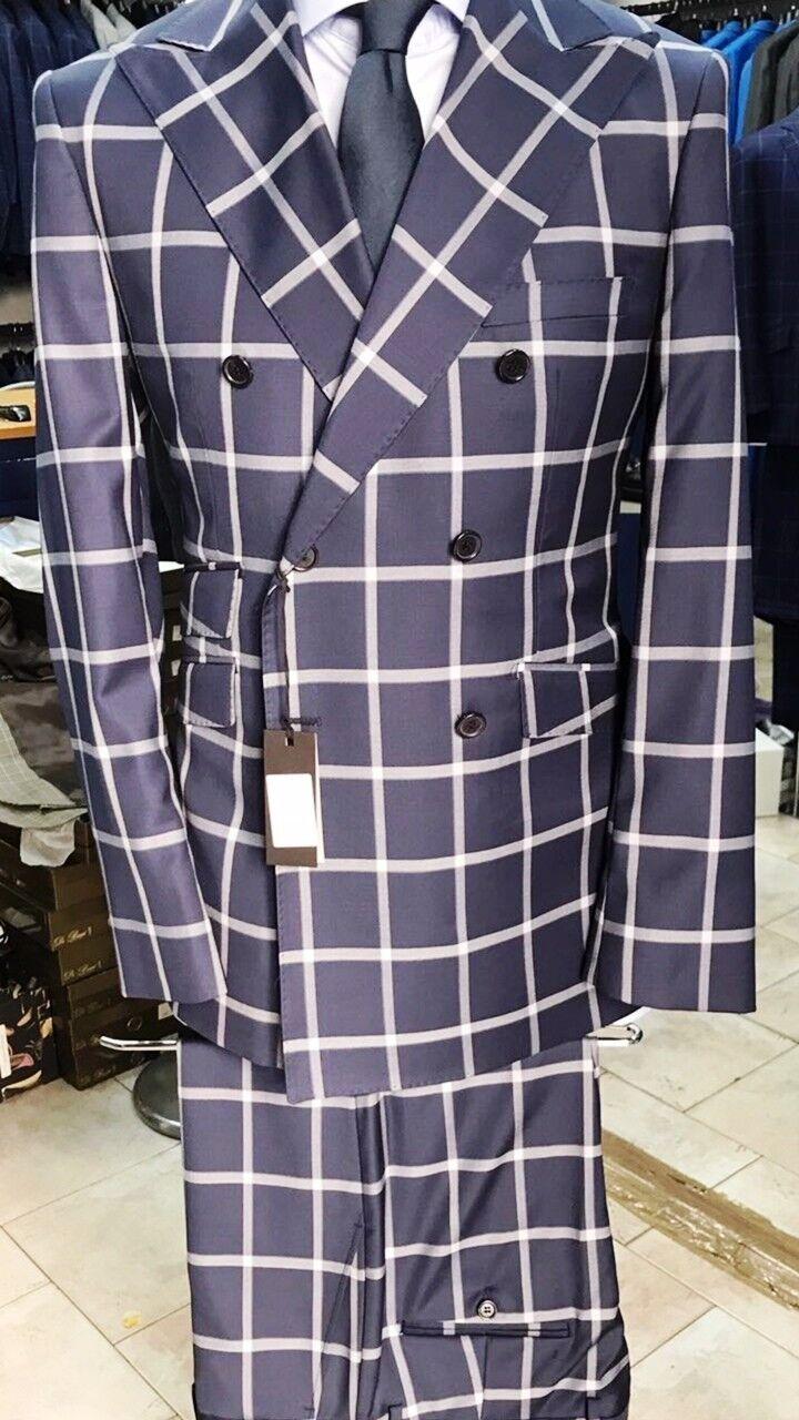 Navy/Weiß super 150 Cerruti double breasted wool suit/5 inch wide peak lapel