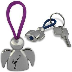 Ein sehr schöner Schlüsselanhän<wbr/>ger Schutzengel Chrom mit Gravur Wunschname 01