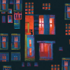 City-Lights-Coral-Cats-in-Windows-Karen-Gillis-Taylor-Clothworks-Fabric-BTY